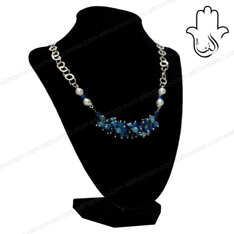 El Khomssa Collier avec pierre bleu