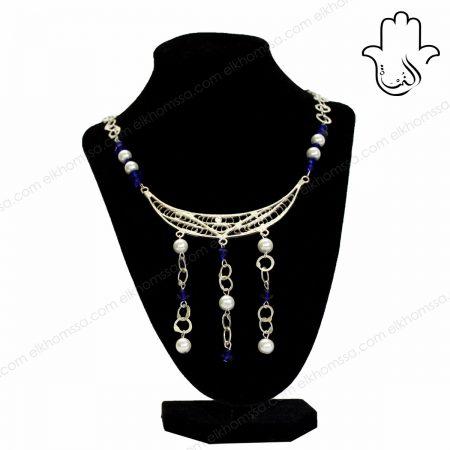 El Khomssa Collier avec cristal bleu