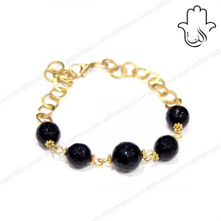 El Khomssa Bracelet pierre noir 3