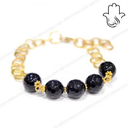 El Khomssa Bracelet avec pierre noir 1