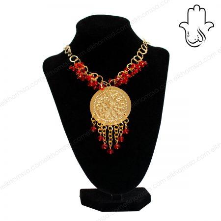 El Khomssa Collier Mahboub longue avec cristal rouge