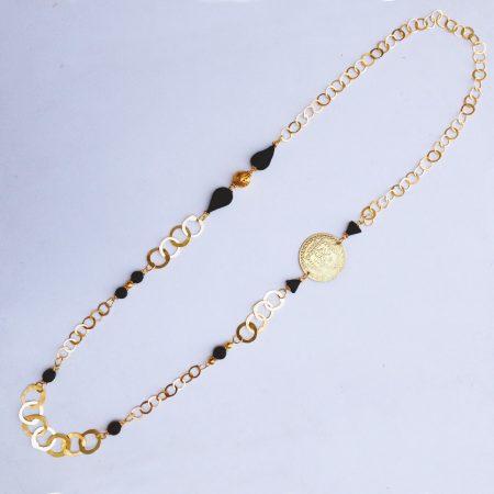 Collier en Cuivre trempé dans l'or et Ambre - El Khomssa Bijoux et Accessoires