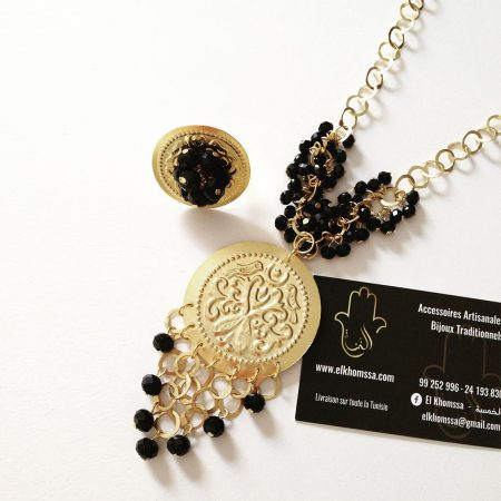 Collier & Bague Mahboub avec Cristal par El Khomssa Bijoux & Accessoires Traditionnels & Artisanales