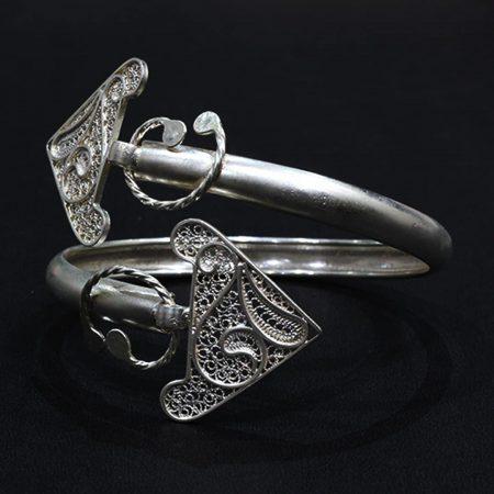 Manchette Kmar Argent - El Khomssa Bijoux & Accessoires Traditionnels